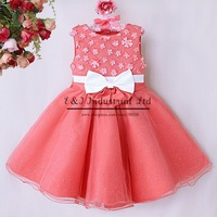 2015 Hot Sale Girl Dress Watermelon Top Class Chiffion Lace Party Flower Dresses With Bow For Child Christmas Clothes GD40814-27