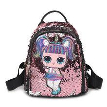 Милый рюкзак с героями мультфильмов для девочек, детские блестящие женские рюкзаки с блестками, маленькое украшение из искусственной кожи, ...(China)