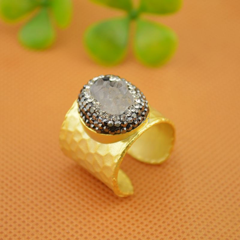 beautiful ~ 5pcs Gold Plated Rhinestone Crystal Charms Rings , Druzy  Drusy Quartz Stone Ring Jewelry Finding