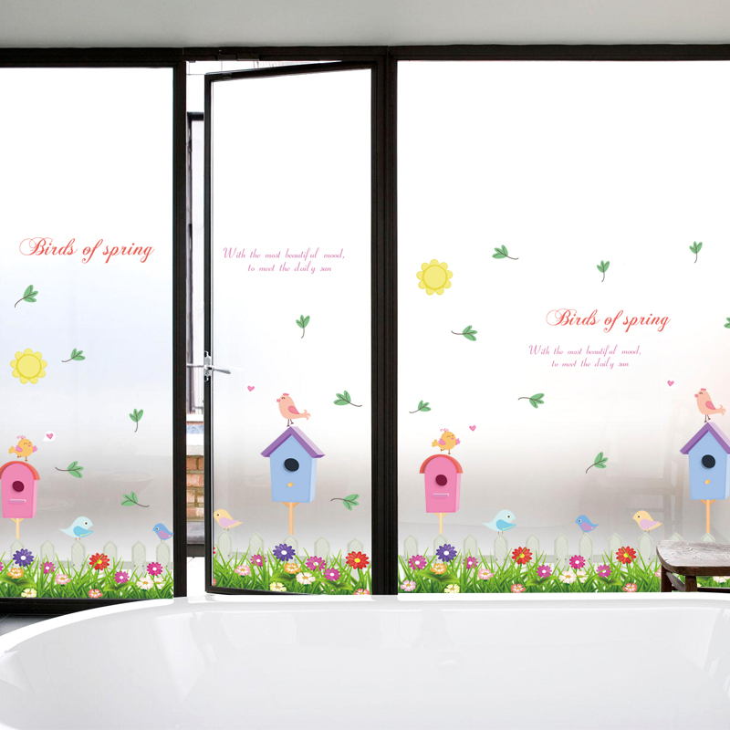 Wall Sticker Wall Decal Home Decor Adhesive Art Mural birds of spring grass sk7008(China (Mainland))
