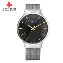 Men's Thin Wrist Watch Julius Quartz Hours Best Fashion Dress Korea Bracelet Brand Steel Lover's couple Round JA577