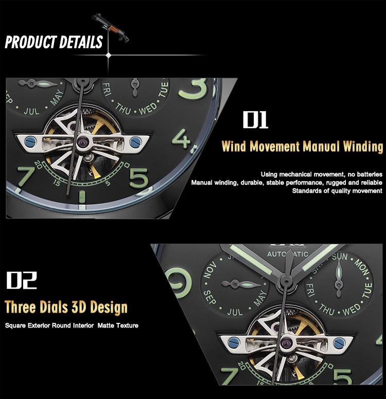 MEGIR2713 Новый Бренд Причинные Geniune Кожа Механические Часы Дата Хронограф Световой 3ATM спорт Военная Часы Мода Часы