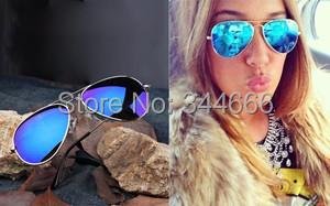 Hot Sale Full Blue Mirrored Aviator Sunglasses Women Dark Tint Lens Gold Frame UV400 BNWT free shipping(China (Mainland))