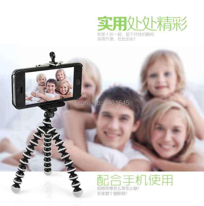 16CM Mini Stand Flexible Leg Tripod Grip Octopus Bubble Pod Monopod + Mobile Phone Holder Clip for iPhone 5 6 Samsung(China (Mainland))