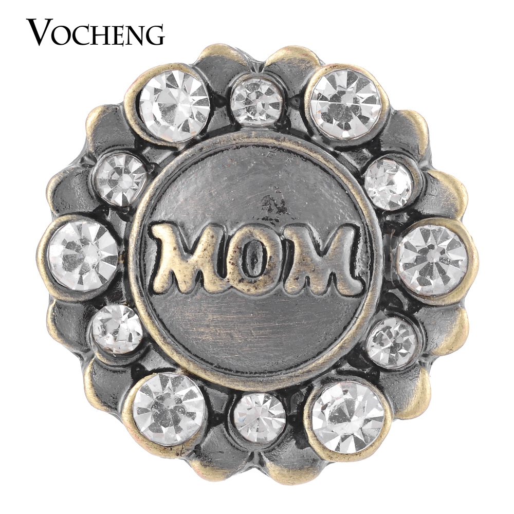 Vocheng Snap Love Mom Antique Bronze Inlaid Crystal Interchangeable Jewelry Vn-1318 Free Shipping(China (Mainland))