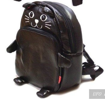 Free shipping! Hot sale PU Linda Lovely Animal Cartoon Child Kid Baby Backpack bag Satchel outdoor bag,(Black Cat)Good Quality