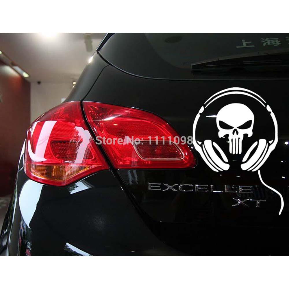 10 x Funny Skull Car Stickers Earphone Ghost Decoration Decal for Toyota Renault Volkswagen Tesla Opel Hyundai Kia Lada(China (Mainland))