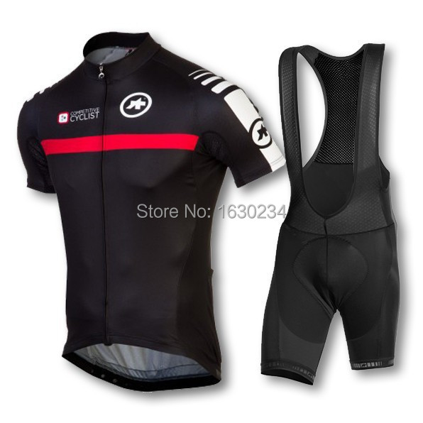 New 2015 assos men cycling jersey clothing set short sleeve jacket  bib gel pad shorts kit summer bicycle sport(China (Mainland))