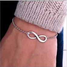 Sunshine factory price exquisite 8 infinity bracelet silver gold and black metal bracelet fashion for women hot selling S075(China (Mainland))