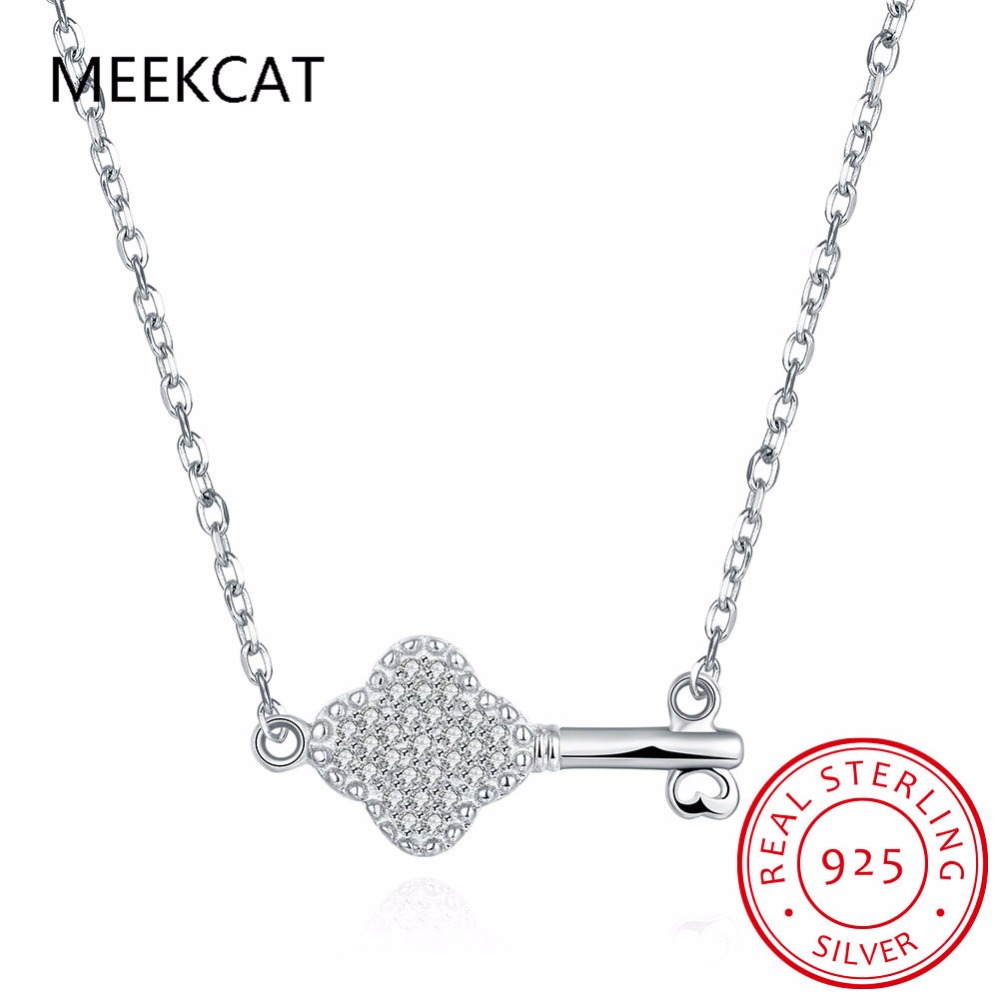 MEEKCAT Fashion jewelry 925 sterling silver key necklace chain containing 45 cm for women cubic zirconia necklace Colar de Prata(China (Mainland))