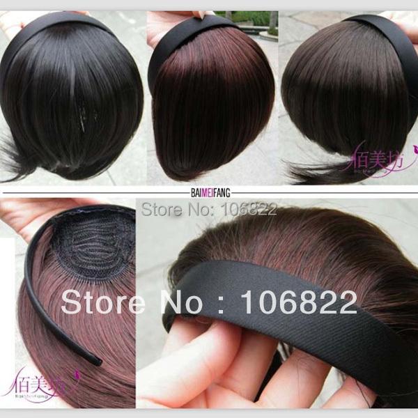 LX0028DC Fashion Dark Brown Women Hair wig band Headband Hairpiece Clip-on Bangs Fringe Wigs