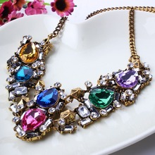 New Arrival Golden Vintage Alloy Jewlery Luxurious Gem Necklace For Lady Jewelry Wholesale Price XL5657