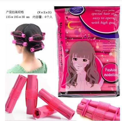 6pcs/lot Flowers soft sponge adhesive curling iron Sleep hair big volume Pear flower head hair curler hairdressing tools(China (Mainland))