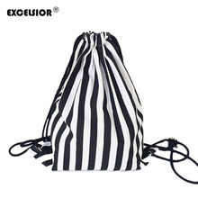 Buy EXCELSIOR 2017 Vintage Stripe Printing Drawstring SackPack Bag Women's Canvas Backpack Bag Beach Travel Bag School Bags G0756 for $4.39 in AliExpress store