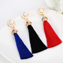 2015 New Hot National Style Fashion  Tassel Dangle Earrings Long Earrings For Women Pendientes Brincos   ED126(China (Mainland))