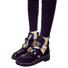 Spring 2016 Shoes Woman Patent Leather Punk Cut Out Buckle Boots Black Sexy Ankle Boots Coltrane Heels Leather Shoes Woman