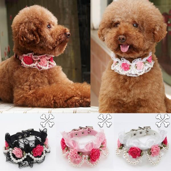 Pet Dog Puppy Neck Collar Lace Rose Pearls Pendant PU Leather Collar Adjustable(China (Mainland))