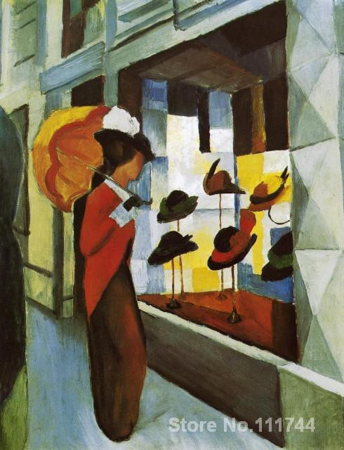 buy a painting,Hat Shop-August Macke,home decor,High quality,Hand-painted(China (Mainland))