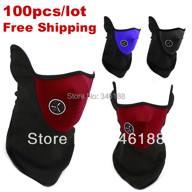 100pcs/lot Free shipping High Quality Neoprene Neck Warm Half Face Mask Winter Veil For Sport Bicycle Motorcycle Ski mask(China (Mainland))