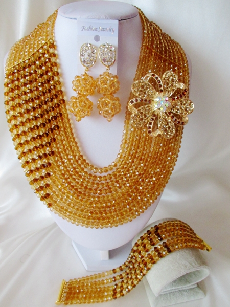 2015 Fashion Champagne Gold african crystal beads necklace set nigerian wedding african beads jewelry set Free shipping P-1218<br><br>Aliexpress