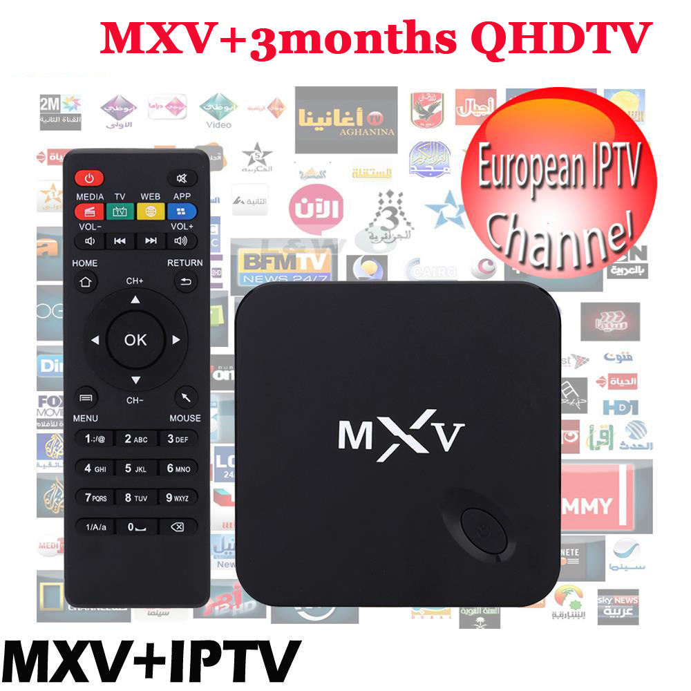 3 months qhdtv Arabic French IPTV included Android TV Box MXV Support Bein Sport Canal Plus french iptv set top box free Test