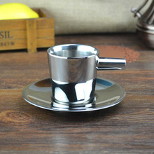 Fashion stainless steel coffee cup double layer exquisite small capacity espresso coffee cup brief tea set teapot porcelana