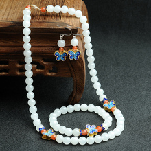 Natural and Tian Yu necklaces and bracelets earrings jewelry set of original national wind female jade cover group with certific(China (Mainland))