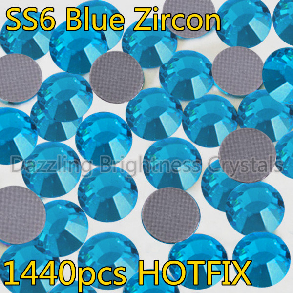Heat Transfer DIY Hot Iron-on Garment Blue Crystals Stones 1440pcs 2mm SS6 Blue Zircon Flatback DMC Hot Fix Rhinestones(China (Mainland))