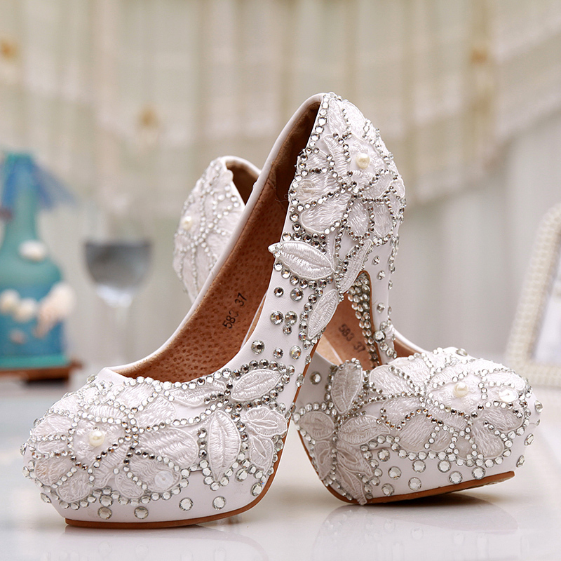 Zapatos Mujer High Heels 2015 New Fashion White Bridal Wedding shoes Crystal Diamond Lace Shoes Women Pumps Plus Size hot sale(China (Mainland))