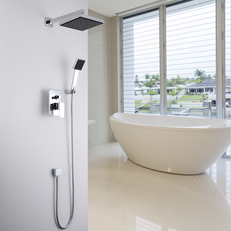 Concealed Shower Set. In Wall Shower Faucet. 8 inch (20 cm) square rainfall shower head,Bath tap mixer with hand hold Sprayer(China (Mainland))