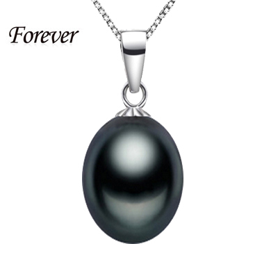 """100% 925 sterling silver necklace pendant 9-10mm AAAA natural pearl black pendant jewelry for women 18""""/45cm necklace water drop(China (Mainland))"""