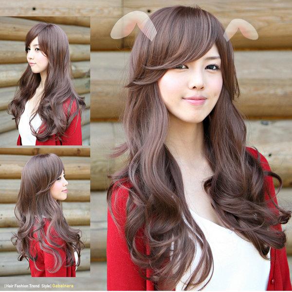 Гаджет  Black Brown Girls sweet lovely paragraph wig fluffy long hair curly wig free lace wig cap  peluca peruca cosplay hair None Волосы и аксессуары