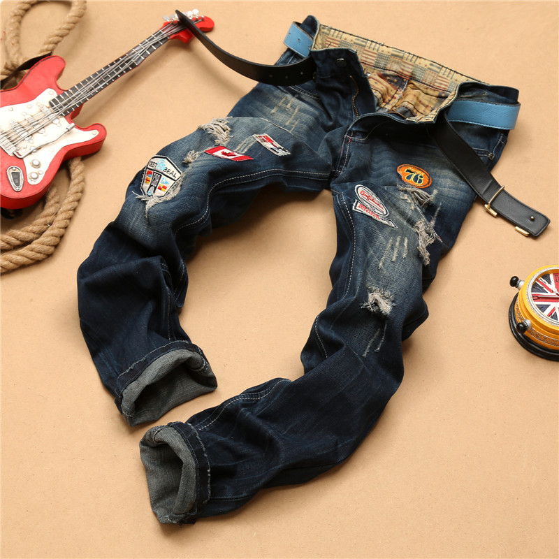 High Quality Jeans Men Fashion Straight Skinny Pants Retro Brand Denim Long Trousers Legged Homme Badge Pattern Biker JeansОдежда и ак�е��уары<br><br><br>Aliexpress
