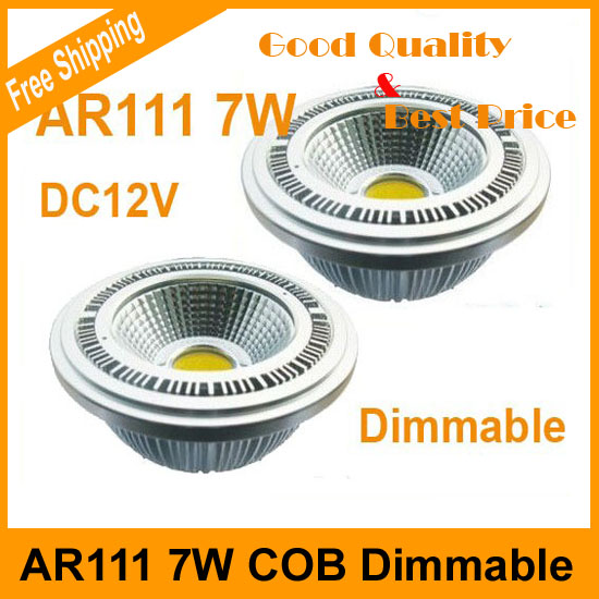 Factory price high CRI 2pcs/pack Ar111 7W Dimmable LED Bulb DC12V COB LED Spot Light(China (Mainland))