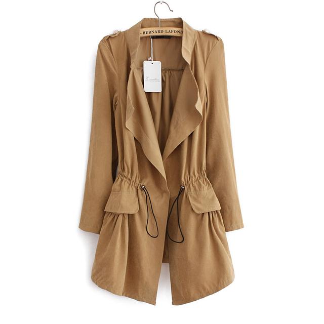 Женщины осень офис длинную траншею плюс размер полный рукавом шнурок Талии пальто ...