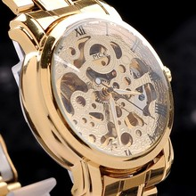 new brand luxury gold color men s skeleton automatic wristwatch Mechanical wristwatch military watches Free shipping