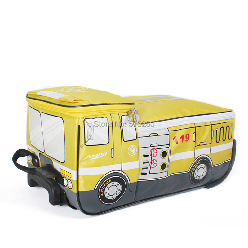 New 2015 Lovely School Rolling Trolley Bags Fire Fighting Truck Bags Wheel Bag Children Backpack for Children Girls(China (Mainland))