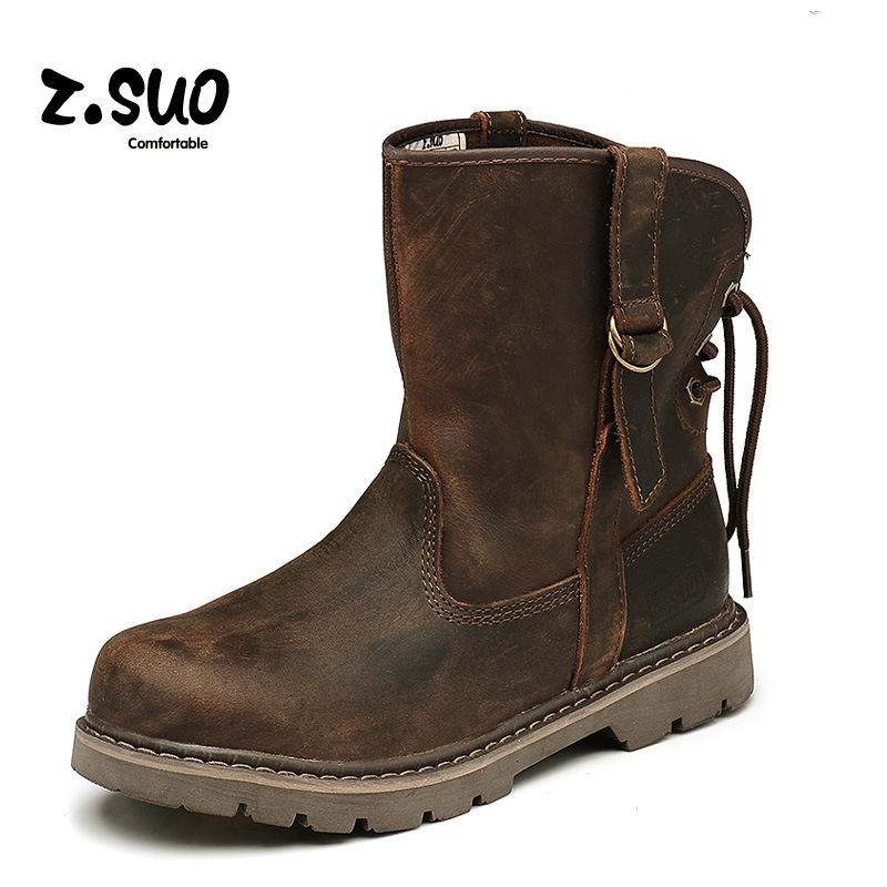 Crazy Horse Leather Men Martins Ankle Boots For Outdoor Casual Walking Military Combat Work Boot Punk Stylish Desert Shoes 2016(China (Mainland))