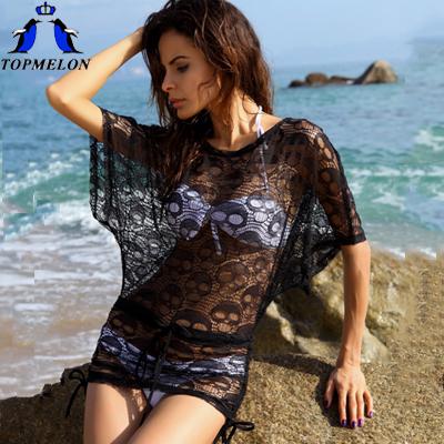 beach cover up saida de praia 2015 Women's Lace swimsuit cover up bikini Swimwear Beach Cover Up Swathing Suit Cover Ups(China (Mainland))