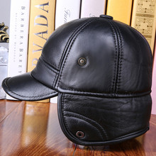 Men's Winter Warm Thick Baseball Cap Duckbill Caps With Warm Earmuffs Genuine Cowhide Leather Velvet Quilted Berets Hats(China (Mainland))