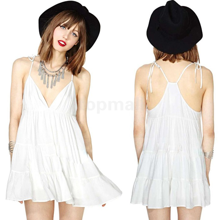 Hot Sale New Spring Summer 2014 Women Casual White Cotton Dress Super Mini Deep V Spaghetti Strap Vests Tops B014(China (Mainland))
