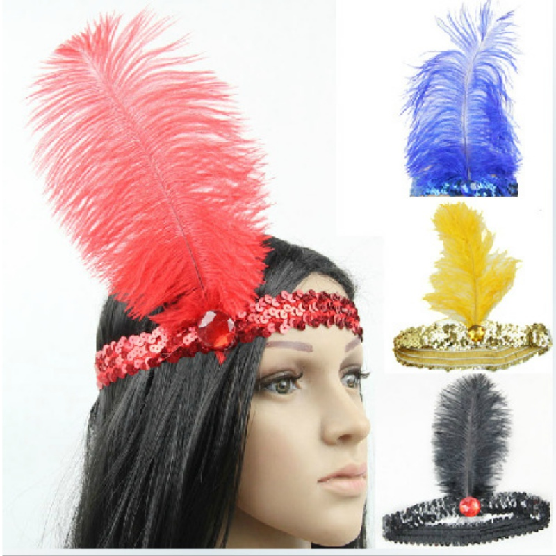 10 Colors Feather Headband Flapper Sequin Headpiece Costume Head Band Party Headband(China (Mainland))