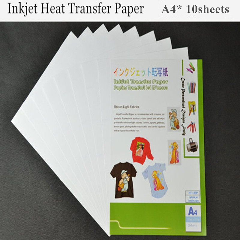 (A4*10pcs) Inkjet Heat Transfer Printing Paper Light Color Fabric Transfer Paper for Cotton Garment Thermal Transfer Paper Papel(China (Mainland))