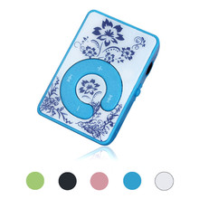 Factory Price Mini Clip Flower Pattern MP3 Player Music Media Support Micro SD TF Card 51109