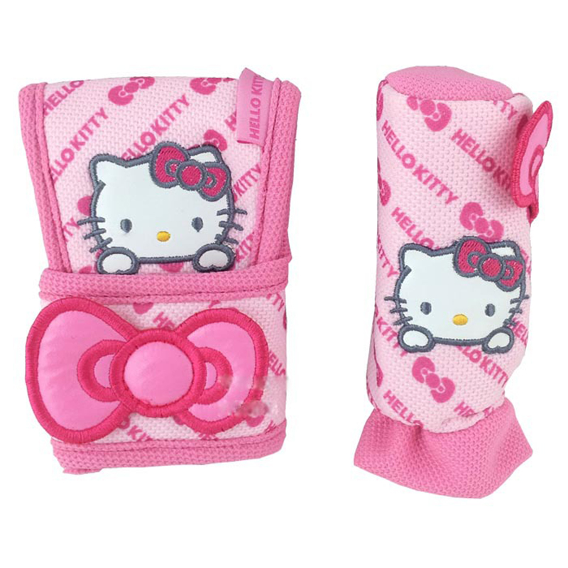 Pink Car-Styling Hello Kitty Car Seat Covers Interior Accessories Handbrake Gears Cover Safty Belt Back Support Cushion(China (Mainland))