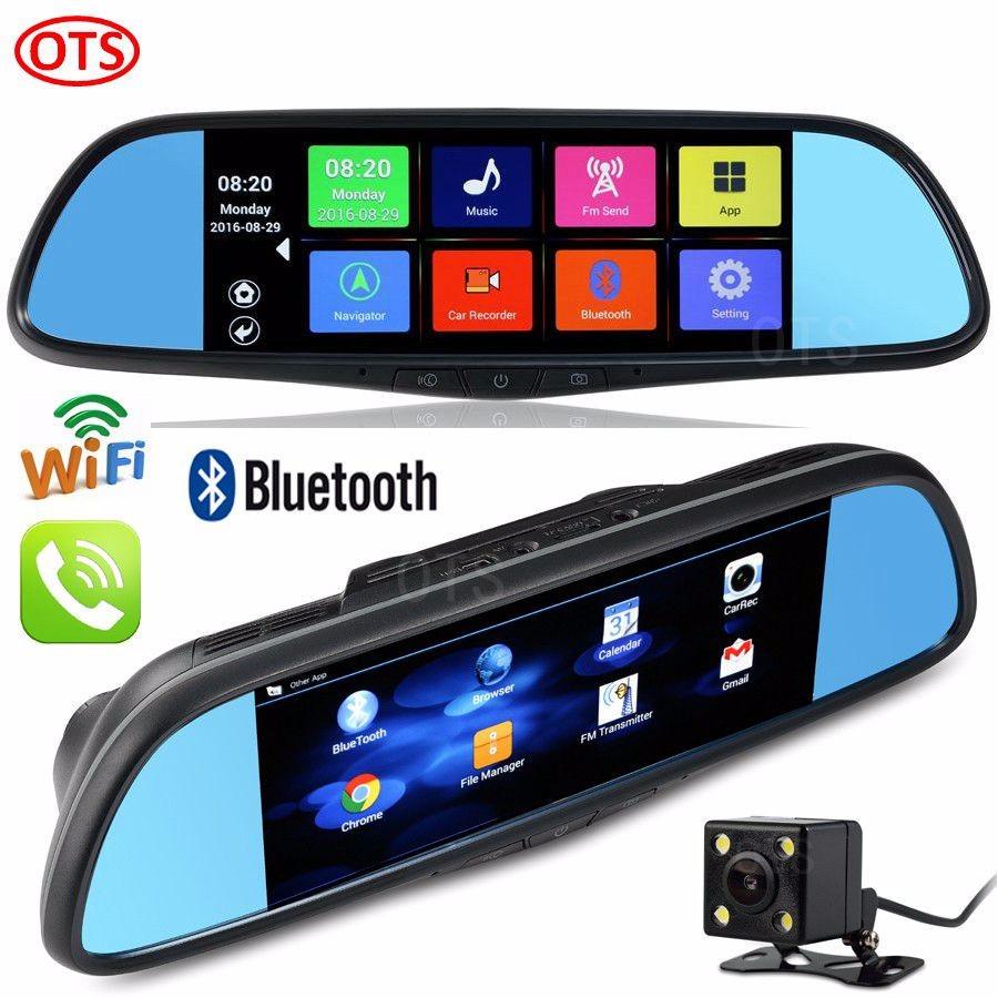 Купить 7 дюймов Android GPS Навигации DVR Video Recorder Full HD 1080 P Bluetooth Телефонный Звонок WiFi Двойная Камера Заднего вида Зеркало 16 Г DVR