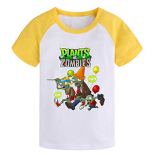 Summer Children t shirts plants vs zombies boys clothing pvz cartoon game pattern boys clothes cotton O-Neck short girls T-shirt