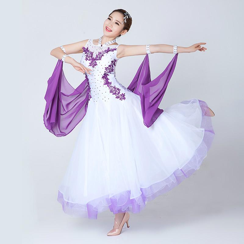 Hembra estándar internacional ballroom dance skirt mujeres slim dress flamenco de baile moderno waltz tango danza dress blanco negro 18