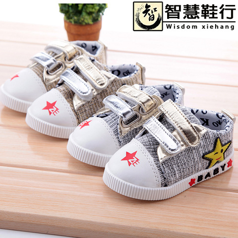 2016 Baby Toddler shoes  kids Sneakers for boys girls  Children's Golden Velcro canvas sports shoes baby shoes