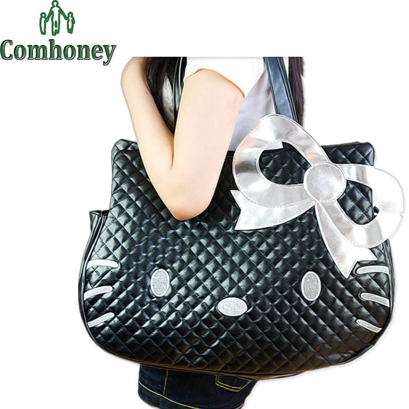 Hello Kitty Handbags 3D Cartoon Women Handbags for Girls Leather Bags Cute Cat Anime Shoulder Bag for Teenagers Travel Bag(China (Mainland))